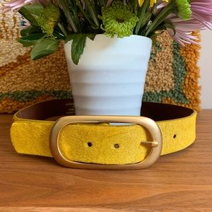 Yellow Leather Belt w Gold Hardware Size Small